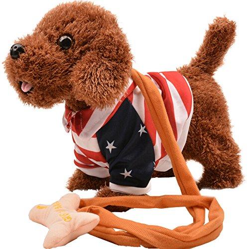 Eastlion Simulation Plüsch Elektronische Hund mit Sings, Spaziergänge, Verdreht ass, Barks in Stars and Stripes Kleidung -