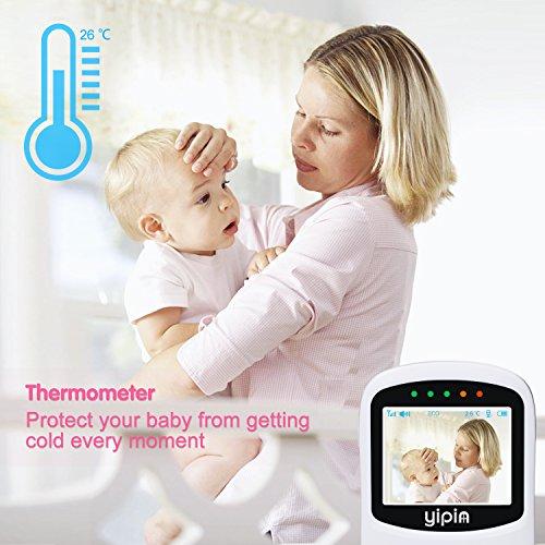 Video Babyphone YIPIN Wireless Baby Monitor Kamera mit Nachtsicht Temperatursensor und Gegensprechfunktion EU Plug, Smart Eco Mode 2.4 zoll