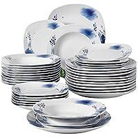 VEWEET Laura 36 Piezas vajilla de Porcelana Juegos de vajilla Plato Completo para 12