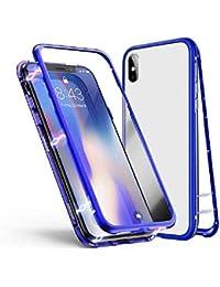 Alsoar Funda Compatible para Xiaomi MI 9 SE Adsorción Magnética 360 Grados Protección Carcasa Delantera y Trasera Vidrio Templado Metal Marco Delgada Bumper Cubierta Case (Azul)