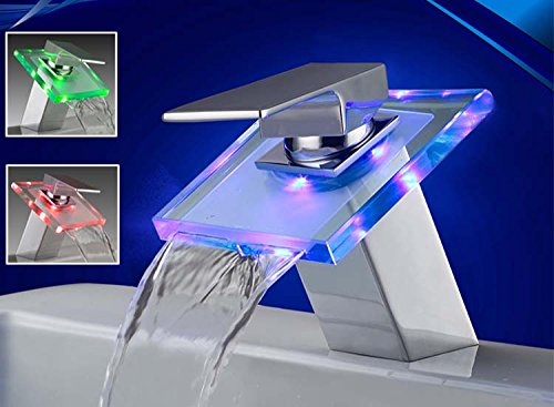 LED Beleuchtete Glas Waschtisch Armatur Wasserfall Neu | LED In Blau, Rot & Grün -