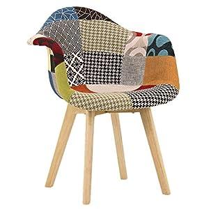 P & N Homewares® Gepolsterter Patchwork-Armlehnstuhl aus Stoff für Wohnzimmer, Büroräume usw.
