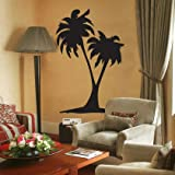 INDIGOS WG20362-70 Wandtattoo w362 Palmen Baum Pflanze Wandaufkleber, 96 x 62 cm, schwarz