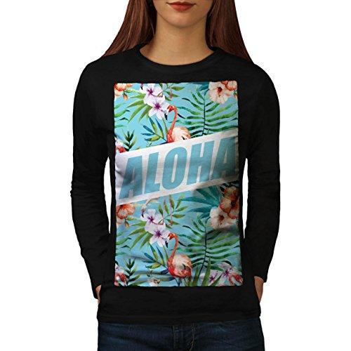 Aloha Hawaii Urlaub Wild Flamingo Frau M Langarm T-Shirt | Wellcoda (Hawaii-aloha-shirt Schwarzes)