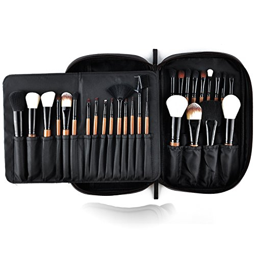 Makeup Brushes MSQ 28pcs Professional Beauty Brushes Sets with Luxury Makeup Bag (Foundation, Powder, Eyeshadow, Blush, Blending, Creams & Lip Brush) Best for Gifts & Travel - Brown