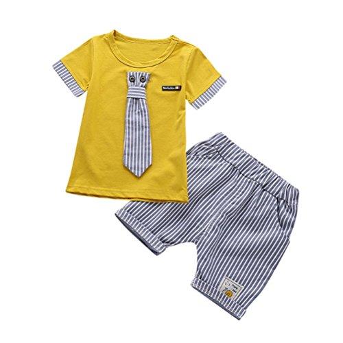 BYSTE bambino Ragazzo Carino piccolo gentiluomo cravatta Manica corta Camicie Pullover Felpa Maglietta Neonato Estate T-Shirt Top+ Bambini pantaloni corti pantaloncini 2pcs (Giallo banda, 12 mesi)