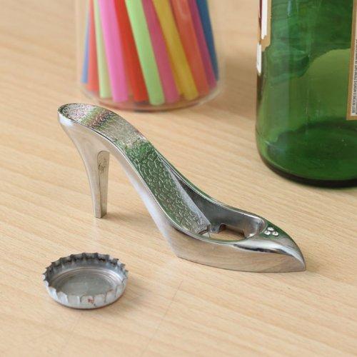 True von True Stoffe Blush Stylisch, einzigartig Glas Bier oder Flaschenöffner High Heel Form in poliertem Silber für Bar