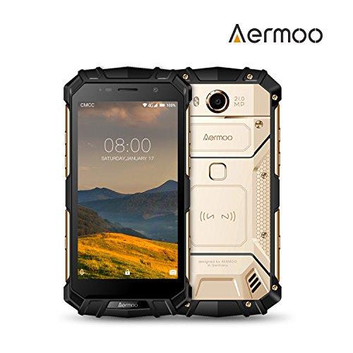 Outdoor Smartphone, AERMOO M1 Dual SIM Outdoor Handy, IP68 Wasserdichte Smartphones, Android 7.0, 4G 5.2' FHD Robustes Smartphone, Helio P25 Octa-core - 6G RAM+64G ROM - 8.0MP+21.0MP - 5580mAh - Gold