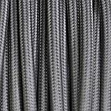 Elektrokabel 2 x oder 3 x 5 Meter rund aus Stoff Farbe Grau - 3 x 0,75 mm