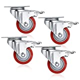 4 Pcs 3inch PVC Swivel Caster Wheels with 360 Degree Top Plate and 880lb Total Capacity (UK Stock) (Red)