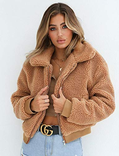 ZLJWRQY Women es Long Sleeve Fearling Plush Coat Sleeve Lapel Zip Up Jacket with Pockets Warm Winter,Brown,S