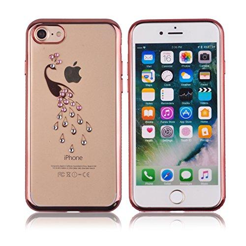Voguecase® für Apple iPhone 7 Plus 5.5 hülle, Schutzhülle / Case / Cover / Hülle / TPU Gel Skin (Katzenbär Muster/Lila) + Gratis Universal Eingabestift Pink Grenze/Pfau 02