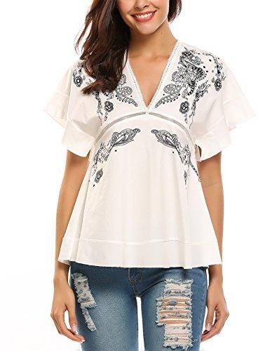 Trudge Damen Floral Bluse Kurzarm T-Shirt Blumen Stretch Shirt Obertail mit V-Ausschnitt, Gr.-EU 36/S,Blumen_2 (Floral Kurzarm-bluse)