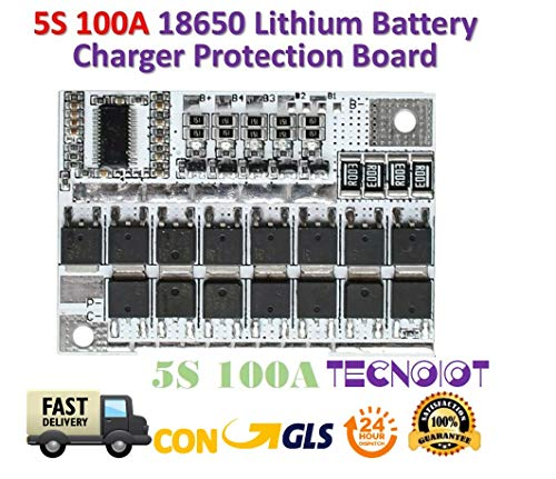 TECNOIOT 18V 100A 5S BMS Li-ion LMO Ternary Lithium Battery Protection Circuit Board 100a/3-bank