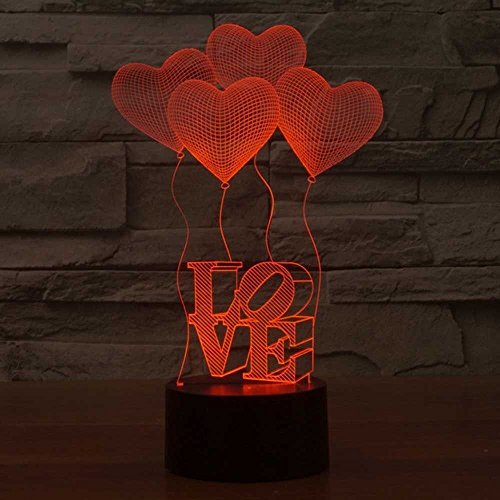 LED Nachtlicht,KINGCOO Magical 3D Visualisierung Amazing Optische Täuschung Touch Control Light 7 Farben ändern Schreibtischlampen für Kinderzimmer Home Decoration Best Geschenk (Love) - 3