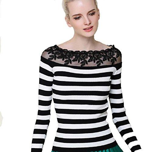 Giovane donna della banda del merletto di cucitura manica lunga in maglia Camicia , black and white stripes , free
