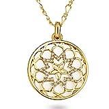 Lulu & Jane Damen-Halskette gelbvergoldet verziert mit Kristallen von Swarovski weiß 65 cm - Kristall Halskette Mandala Kette Gold Damenhalskette lang mit Anhänger