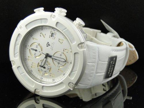 Aqua Master JoJo Jojino Joe Rodeo Herren-Armbanduhr mit weißem Lederband (Jojino Uhren)