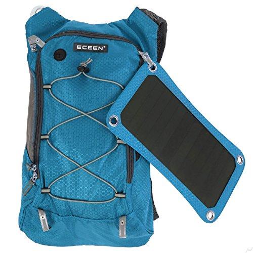 Eceen Trinkrucksack mit 1.8L Blase-Tasche und 7Watt Solarmodul, Aufladen von Handys, Tablets, Bluetooth-Lautsprechern und anderen 5V Geräten, mit 10.000mAh Power Bank blau
