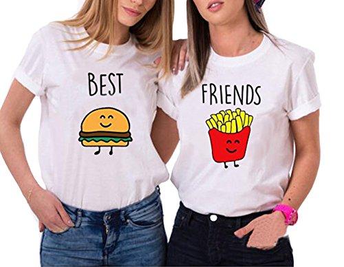 Ziwater Best Friends T-Shirt für 2 Mädchen mit Aufdruck Burger und Pommes Lustige Passende Kurzarm Damen von (Best-XS+Friends-XS, Weiß)