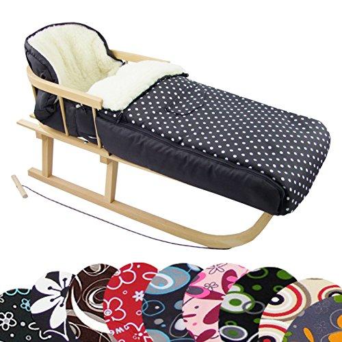 RAWSTYLE *KOMBI-PAKET* Holz-Schlitten mit Rückenlehne & Zugseil + universaler Winterfußsack (108cm) LAMMWOLLE, auch geeignet für Babyschale, Kinderwagen, Buggy (Grau + Halbkreise Rosa)