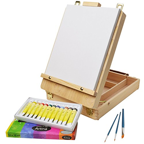 artinar-painting-art-set-with-box-table-easel-canvas-12-acrylic-paints-3-bristle-brushes-full-16-pie