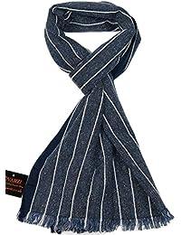 Männer-Schal Blau - Lovarzi Gestreifter Schal für Herren - Made in Italien - Herren Winter Schals