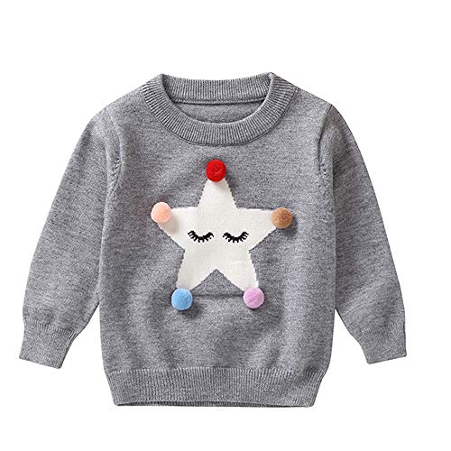QUINTRA Kleinkind-Säuglingsbaby-Mädchen-Strickjacke-Oberseiten-Haar-Ball fünf-Spitzer Stern-Pullover