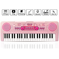 Chargable Keyboard Piano, JINRUCHE 49 Keys Multi-function Charging Electronic Piano Educational for Student Kids Children with Microphone (Pink)