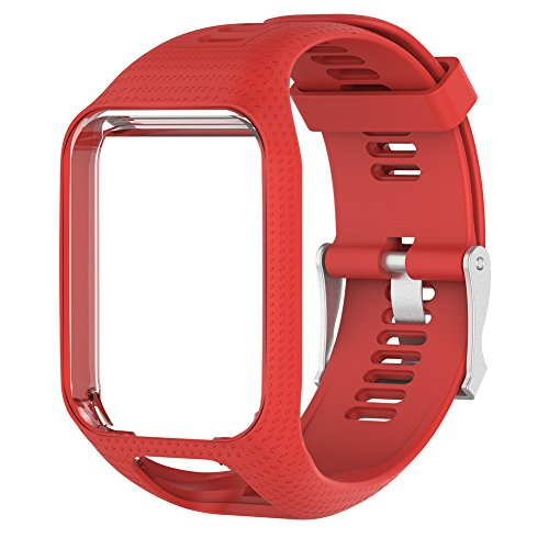 Silicagel de remplacement en gel de silicone Bracelet de montre bracelet Sangle Sport Bracelet pour TomTom 2/3Series GPS Smartwatch Bracelet, Red