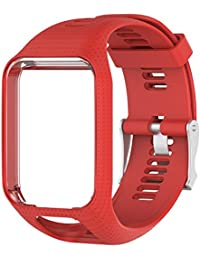 Favourall Correa de silicona de repuesto para reloj TomTom 2/3 serie GPS, deportivo, correa de silicona, color rojo