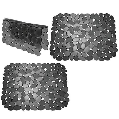 mDesign Set da 3 Tappetini per lavello Cucina in plastica - Grande Tappetino lavandino Protettivo con Design a ciottoli - Accessori Cucina per lavello a Doppia Vasca - Nero