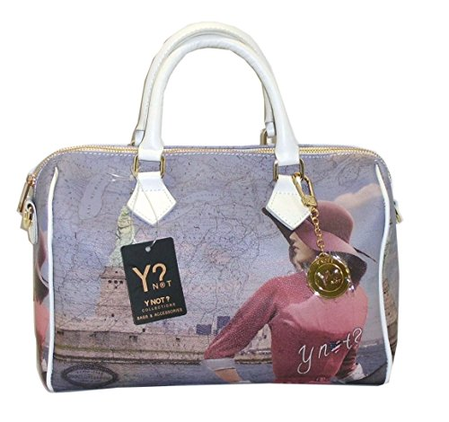 BORSA Y-NOT D318 NEW BAULETTO CM 30 MEDIO STAMPA NEW YORK SUMMER