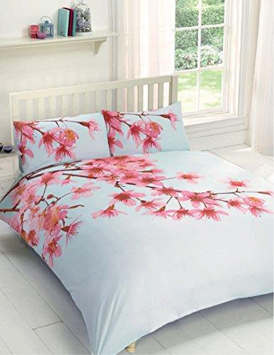 Cherry Blossom Bettwäsche (Urban Einzigartige Blumenmuster Bettwäsche Bettbezug Set Cherry Blossom mit 2passende Kissenbezüge, hellblau, King)