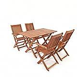 saiwhale Muebles de jardín para Exteriores, 1 Mesa y 4 sillas Plegables de Madera de Acacia - Mesa de jardín con sillas Marrones