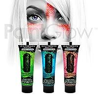 PaintGlow UV Neon Glitter Face& Body Paint (3 Pack) Festival eye glitter dust