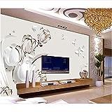 Lovemq Custom 3D Foto Wallpaper Habitación De La Habitación Sala De Estar Mural Tulip Mariposa 3D Pintura Sofá Tv Fondo De Pared Papel Tapiz Para Pared 3D-290X230Cm