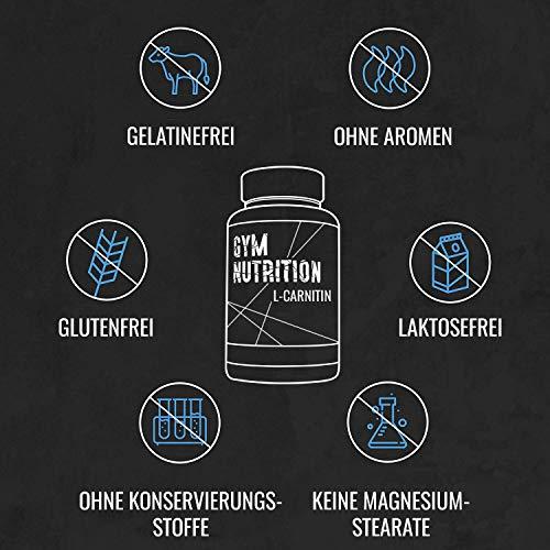 GYM – NUTRITION PREMIUM L-CARNITIN 3000 | Mega Hochdosiert | Für Die Definitionsphase und Diät | Beliebt bei Sportlern | 100 Kapseln | Vegan | Made in Germany - 6