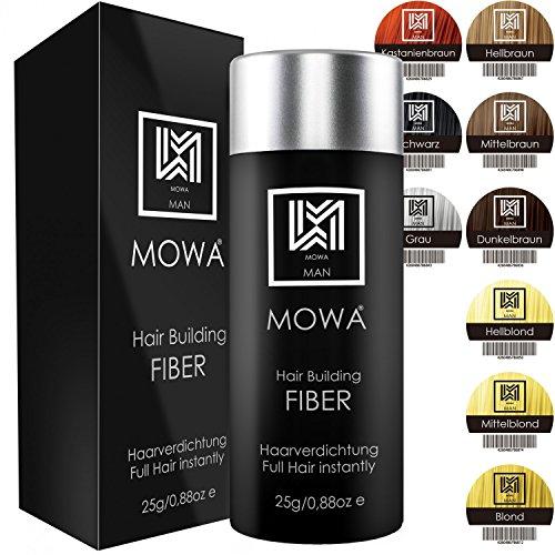 MOWA® Hair Fiber - Haarverdichtung - Premium Streuhaar/Schütthaar mit Soforteffekt bei Geheimratsecken, Haarausfall und lichtem Haar - Haarpuder 1er Pack | 25g Schwarz
