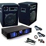 PA altavoz 2400W Gabinete de DJ cable del micrófono completa amplificador sistema de DJ-34