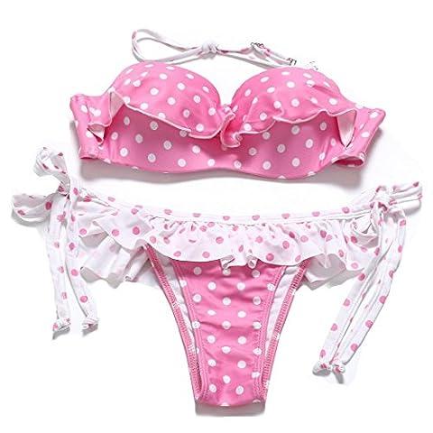 PU&PU Bikinis à biseaux Halter Bandeau pour femme Ensemble à deux pièces Maillot de bain Chaussure à lacets Polka Dots Underwire Maillot de bain rembourré , pink , m