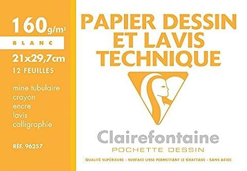 A4 160 Grammes - Clairefontaine 96257C Pochette de 12 Feuilles de