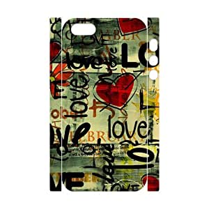 Love series vintage graffiti design Red Heart Pattern (3D) iphone 5 5s Case Cover