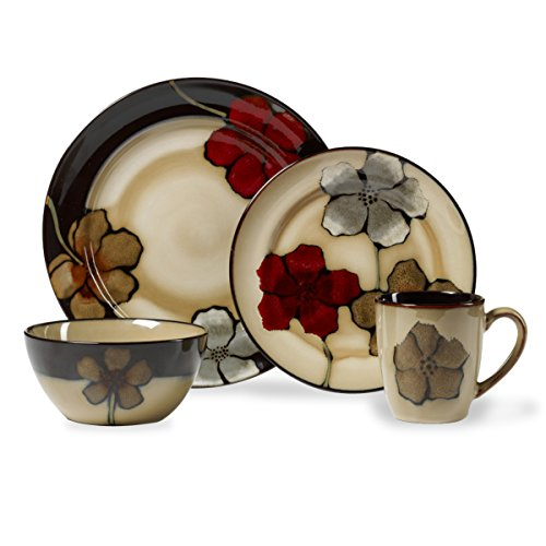 Pfaltzgraff Painted Poppies 16-Piece Stoneware Dinner Set Service for 4