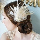 OHQ ScèNe Spectacle Mariage Coiffure Photo Les Femmes Plume Strass Perle en éPingle à Cheveux Pince à Cheveux FêTe De Mariage (Blanc)