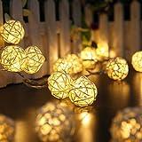 Dailyart Warmweiße Leds Lichterstreifen 10LEDs Natürliche Rattan-Kugeln Lichterkette Innenbeleuchtung Batteriebetrieben[Energieklasse A +]