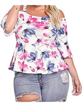 SALLYDREAM Camiseta blusa Casual Mujer Talla Grande Señoras Impresión Suelto Tops (XXXL, blanco)