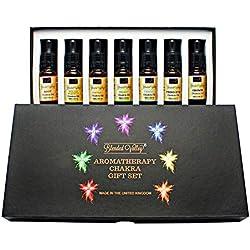 Blended Valley Set Chakra - 7x10 ml. Mezclas de Aceites Esenciales - Para Yoga Kundalini, Meditación, Relajación o Aromaterapia - Para Humidificador, Difusor y Quemador, Pulseras o Cristales