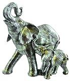 25cm verde cerámica esmaltada elefante con figura de vacuno