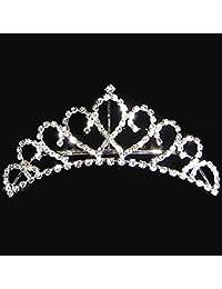 joyliveCY elegante princesa cristal austriaco Rhinestone Tiara Corona de pequeño peine del pelo